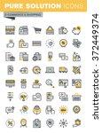 set of modern vector thin line... | Shutterstock .eps vector #372449374
