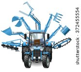 vector tractor multi equipment | Shutterstock .eps vector #372455554