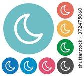flat moon icon set on round...
