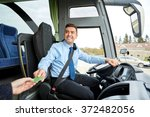 bus driver taking ticket or... | Shutterstock . vector #372482056