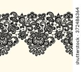 black vector lace seamless... | Shutterstock .eps vector #372486364