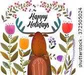 elk in the meadow with flowers   Shutterstock .eps vector #372505024