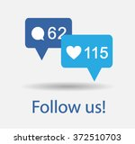 blue button follow us isolated...