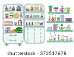 doodle refrigerator with food... | Shutterstock .eps vector #372517678