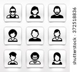 people face set on white square ... | Shutterstock .eps vector #372518836