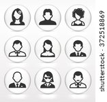 people face set on white round... | Shutterstock .eps vector #372518869