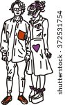 japanese couple of fashion... | Shutterstock .eps vector #372531754