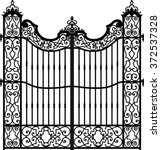 old wrought iron gate full of... | Shutterstock .eps vector #372537328