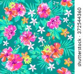 cute tropical print   seamless... | Shutterstock .eps vector #372544360