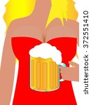 Woman Carrying A Glass Of Beer...