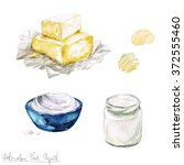 watercolor food clipart   dairy ... | Shutterstock . vector #372555460