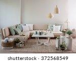 corner sofa interior pillow...   Shutterstock . vector #372568549