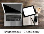 modern laptop  mobile phone ...   Shutterstock . vector #372585289