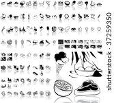 food set of black sketch. part... | Shutterstock .eps vector #37259350