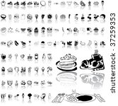 food set of black sketch. part... | Shutterstock .eps vector #37259353