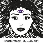 woman with third eye  psychic... | Shutterstock . vector #372602584