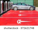 Постер, плакат: Tesla supercharger station and