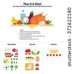 the 5 2 diet vector flat... | Shutterstock .eps vector #372622180