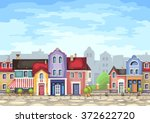 small town street with coffee... | Shutterstock .eps vector #372622720