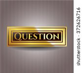 question gold shiny emblem | Shutterstock .eps vector #372626716