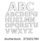 3d letter alphabet  line... | Shutterstock . vector #372651784