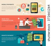 mobile payments concept in flat ... | Shutterstock .eps vector #372661264
