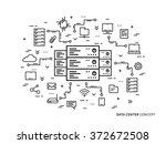 linear data center  server park ... | Shutterstock .eps vector #372672508