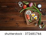vegetables and a plate with... | Shutterstock . vector #372681766