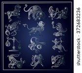 set of zodiac icons  astrology  ... | Shutterstock .eps vector #372683236