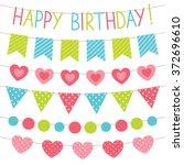 birthday party vector bunting... | Shutterstock .eps vector #372696610