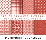 set of seamless patterns. peach ... | Shutterstock .eps vector #372715828
