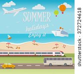travel background of summer... | Shutterstock .eps vector #372724618
