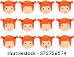 red haired girl emotions  joy ... | Shutterstock .eps vector #372726574