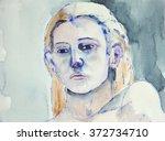 portrait of a woman's head. the ... | Shutterstock . vector #372734710