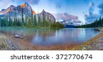 sunrise panorama on bow lake ... | Shutterstock . vector #372770674