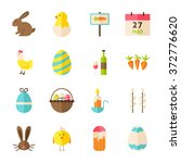 happy spring easter objects set ... | Shutterstock .eps vector #372776620