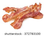 cooked bacon rashers close up... | Shutterstock . vector #372783100