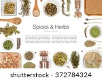 Various Spices And Herbs On...