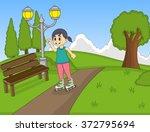 children playing roller skate... | Shutterstock .eps vector #372795694