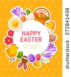 happy easter yellow banner with ... | Shutterstock .eps vector #372841438