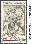 """Small photo of MOSCOW, RUSSIA - CIRCA FEBRUARY, 2016: a post stamp printed in CZECHOSLOVAKIA shows painting """"The Sanguine Man"""" by Jacob de Gheyn, the series """"Engravings with a Music Theme"""", circa 1982"""