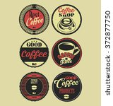 coffee vintage retro labels | Shutterstock .eps vector #372877750