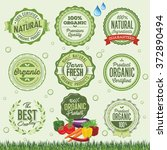 organic food badges  labels and ... | Shutterstock .eps vector #372890494