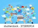 modern laptop tablet smart cell ... | Shutterstock .eps vector #372890914