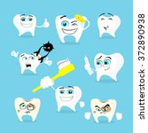 teeth dental health care set... | Shutterstock .eps vector #372890938