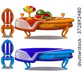 ornate table with fruit. vector. | Shutterstock .eps vector #372892480