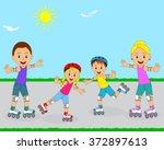 happy family on roller skates... | Shutterstock .eps vector #372897613