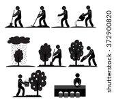 gardener man working digging... | Shutterstock .eps vector #372900820