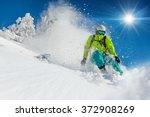 freeride in fresh powder snow.... | Shutterstock . vector #372908269