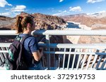 Girl In Front Of Hoover Dam An...